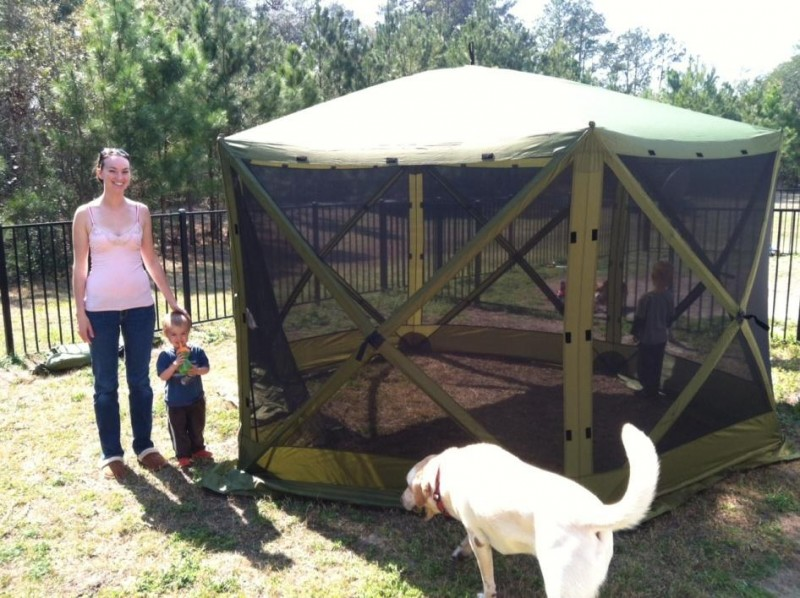Amanda pictured with her son Grayson by her side and Owen inside the Six Pack 1660 Mag Screen Tent loved the durable material. & Clam Outdoors Six Pack 1660 Mag Screen Tent - Outdoor Hub