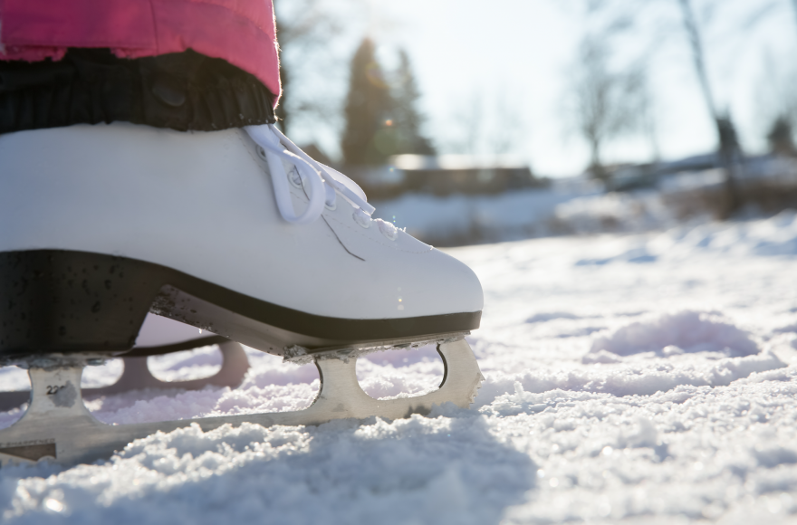 Pond ice skating