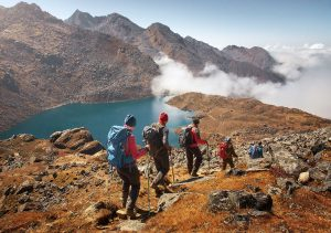 group backpacking mountains