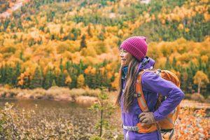 fall hiking women