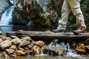 hiking stream crossing