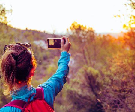 hiker cellphone