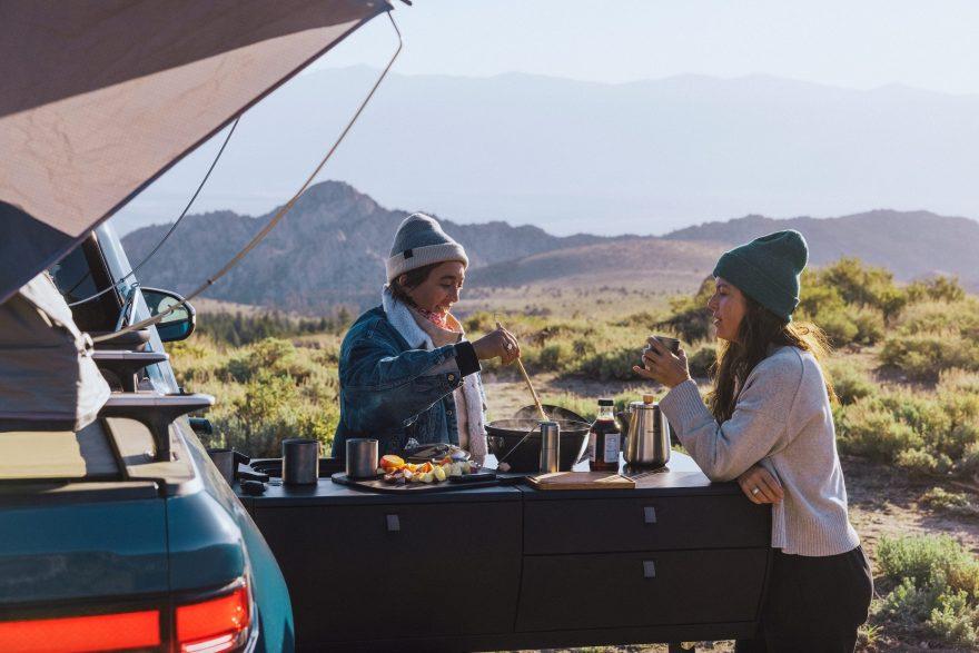 snow peak rivian outdoor cooking